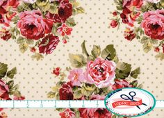 SHABBY ROSE Fabric by the Yard, Fat Quarter Sage green & Pink Fabric Shabby Chic Fabric Floral Quilt Fabric 100% Cotton Fabric Yardage t2-14