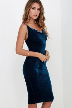 70c34fd771 The Jazzy Belle Blue Velvet Dress is worthy of a catwalk and a crowd! See