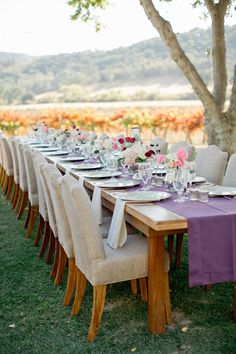 beautiful tablescape for a destination wedding.  Location Paso Robles, California