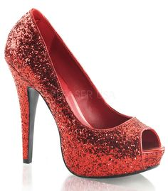These gorgeous red twinkle slip on platform pumps by Fabulicious Shoes are perfect for that perfect outfit or costume idea. These classic red sparkle dorthy style heels have a 5 inch heel. All man mad