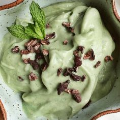 """Casey's Wholesome Kitchen: Mint Chocolate Chip Banana """"Nice"""" Cream - forget all the add ins i am going to try with bananas, peppermint, cacao nibs. Vegan Sweets, Healthy Sweets, Vegan Snacks, Healthy Foods, Healthy Ice Cream, Vegan Ice Cream, Banana Nice Cream, Fodmap Recipes, Health Recipes"""