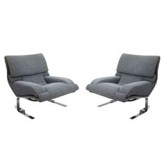 Pair of Saporiti  Armchairs Signed by Designer Giovanni Offredi ca.1960's