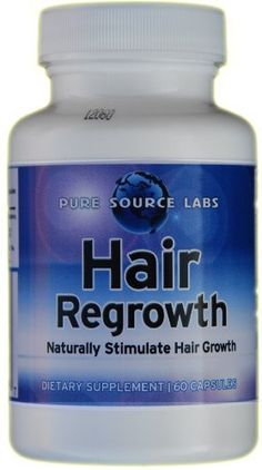 Hair Regrowth, Exclusive formula by Pure Source Labs, All Natural, 60 capsules by Pure Source. $19.95. Provides intensive nourishment to revitalize the scalp and enhance hair growth. Formulated in the USA. 100 percent safe and effective natural hair regrowth formula. Dietary Supplement. 30 Day supply. 100% Natural. For hair loss & thinning hair. Thickens hair naturally. Energizes follicular growth. The No. 1 safe & effective supplement for hair loss and thinning...
