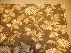 "Antique French Floral Fabric 1910  Bronze/Brass Ecru, Beige, Burgundy  15 1/2""  by  14"" AGAFF068 on Etsy, $21.00"