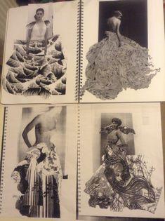Fashion Sketchbook - fashion design research & development for a paper dress project; fashion portfolio // Anna Ackred