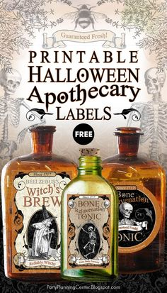FREE Printable Halloween Apothecary Labels in Two Shapes | These printable labels make terrific Halloween decorations, whether you use them on old bottles or beakers, as cupcake toppers, on treat bags or banners.    #HalloweenDecorations #HalloweenDecor #FREEHalloweenDecorations #HalloweenPrintables #FREEHalloweenPrintables #HalloweenApothecary #HalloweenApothecaryLabels #ApothecaryLabels #VintageApothecary #CarlaChadwick Halloween Apothecary Labels, Halloween Labels, Vintage Halloween, Halloween Crafts, Halloween Decorations, Halloween Halloween, Halloween Poems, Halloween Wreaths, Halloween Pumpkins
