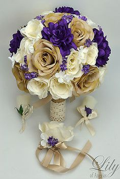 17-Piece-Package-Silk-Flower-Wedding-Bridal-Bouquet-Sets-Rustic-PURPLE-TAN-CREAM