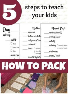 5 Steps to Teach Your Kids How to Pack a Suitcase - Free Printable Packing Lists StuffedSuitcase.com #family #travel #packing