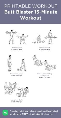 Butt Blaster Workout Butt Blaster Workout A healthier state of mind A number of studies have found that 15 Min Workout, Beginner Cardio Workout, Gym Workout Chart, Workout Log, Dumbbell Workout, Butt Workout, Easy Workouts, Glutes Workout Men, Fitness Workouts