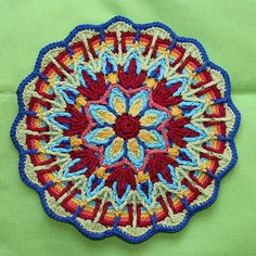 This mandala is worked in overlay crochet technique. This technique is deeply rooted in cable and Aran crochet. Overlay crochet created a symmetric textured design. Crochet Pattern Free, Crochet Mandala Pattern, Crochet Circles, Crochet Round, Crochet Chart, Crochet Squares, Crochet Home, Crochet Stitches, Knit Crochet