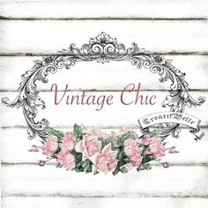 Vintage Shabby Chic Frame Roses Large A4 Instant by CreatifBelle