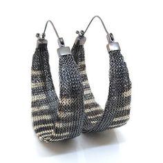 Striped hoop earrings Silver Earrings, Silver Jewelry, Hoop Earrings, Bold Jewelry, Jewelry Design, Italian Jewelry, Warm Grey, Gray Color, Pairs