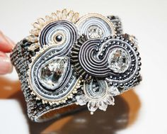 Beautiful luxury hand embroiled soutache bracelet by momaart, zł560.00