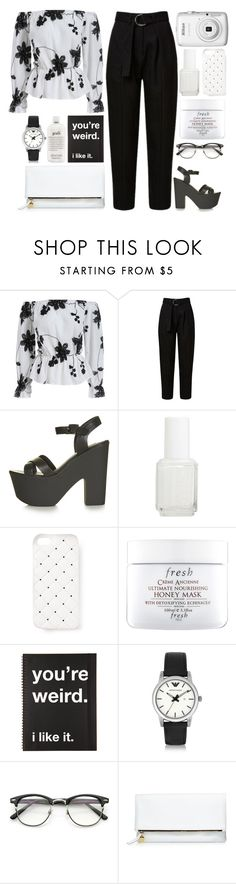 """Untitled #927"" by andreiasilva07 ❤ liked on Polyvore featuring Topshop, Nikon, Essie, 2Me Style, Fresh, Emporio Armani, Clare V. and philosophy"