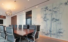 Modern chinoiserie 'Bamboo Forest' by Misha wallpaper: Designer DLArchitecture featured hand painted wallpaper Bamboo Forest on Pearl Grey silk in the client's office in Shaghai, China.