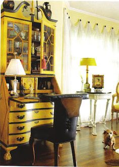 Secretary, painted antique vintage furniture, yellow mustard and dark brown. (Cute dog, nice accessory, a lot more maintenance. Funky Furniture, Vintage Furniture, Painted Furniture, Red Couch Living Room, Living Room Decor, Furniture Inspiration, Home Decor Accessories, Home Furnishings, Interior Decorating