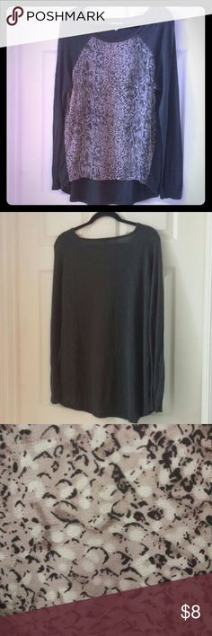 Olivia Sky High-Lo Gray Snake Skin Top Good condition Gray shirt w/ black and tan front Snake skin front is 100% polyester Shirt is 60% cotton/40% rayon Machine wash Dry flat This fits like a true XL but would not recommend for those with DD-cup and larger as the front will not sit well across your chest Olivia Sky Tops