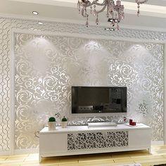 Xefeel Simple Style européen Salon Fond d'écran TV Toile de fond de papier peint de l'environnement non-tissé Wallpaper Argent: Amazon.fr: Bricolage