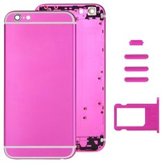 [$22.52] Full Assembly Replacement Housing Cover for iPhone 6, Including Back Cover & Card Tray & Volume Control Key & Power Button & Mute Switch Vibrator Key(Magenta)