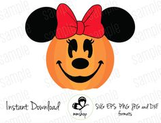 Minnie Pumpkin - Cuttable Design Files (Svg, Eps, Dxf, Png, Jpg) For Silhouette and Cricut Disney Halloween, Halloween Door, Halloween Cards, Preschool Halloween, Disney Diy, Disney Crafts, Disney Love, Fall Pallet Signs, Disney Cruise Door