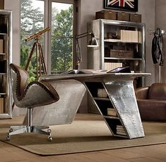 seriously one of THE COOLEST desks I've EVER seen!! Aviator wing desk $2195.00 Restoration Hardware