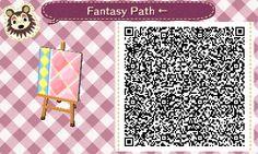 Animal Crossing QR Codes ❤ Pink Fantasy  Diamond path  Left Side Straight TILE#7 of 9
