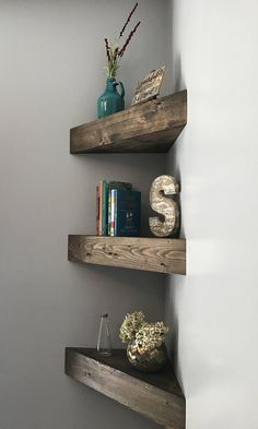 These beautiful and unique floating shelves are hand crafted and custom made by the Amish community is South Central Kentucky. Pine is the wood that is used with these shelves and each piece of wood when cut and stained displays its own natural characteristics leaving each and every