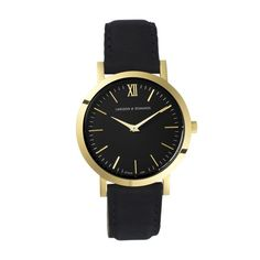 Larsson & Jennings Liten Black Calf Leather Watch ($335) ❤ liked on Polyvore featuring jewelry, watches, accessories, black, black wrist watch, black jewelry, black watches, kohl jewelry and black jet jewelry