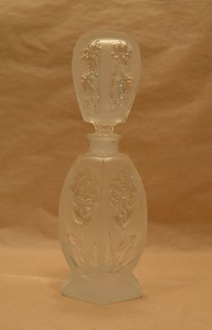 Vintage Perfume Bottle Scent Flask Container Frosted Glass