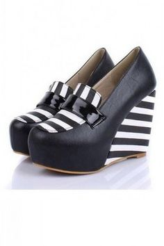 ee43c65ce7e7 GrabMyLook Black White Stripes Wedges Round Head Platforms High Heels Shoes  Striped Wedges