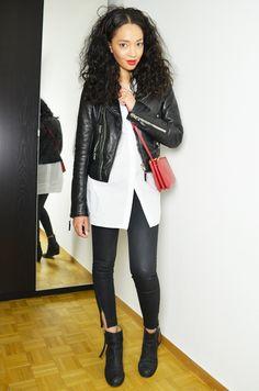 white shirt, leather black jacket, pants