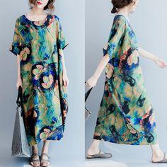 Kvinnor bomull linne klänning