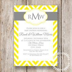 chevron monogram yellow and gray wedding or baby shower