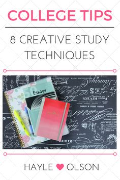 In preparation for finals week, here are 8 Creative Study Techniques to help you ace your next exam. Click through to read now, or pin to save for later! :) Find my blog at... www.hayleolson.com