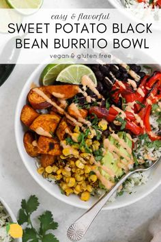 This sweet potato black bean burrito bowl is an easy vegan dinner recipe that is perfect for meal prep! It's loaded with fresh flavor, spicy tahini dressing, cilantro lime rice and roasted veggies for the perfect vegan buddha bowl. Easy Vegan Dinner, Vegan Dinner Recipes, Vegan Dinners, Vegetarian Recipes, Vegan Black Bean Recipes, Whole Foods, Whole Food Recipes, Sweet Potato Burrito, Sweet Potato Dinner