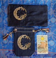 Tarot Bag Tarot Cloth Crescent Moon Midnight by FreeSpiritSewing