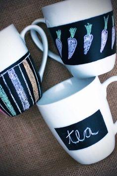Chalkboard paint on mugs and glasses craft-ideas