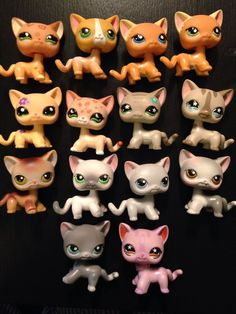 Lot Of 14 Littlest Pet Shop Short Hair Cats Rare