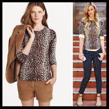 J. Crew $88 Leopard Wildcat Cheetah Print Merino Wool Tippi Crewneck Sweater - S