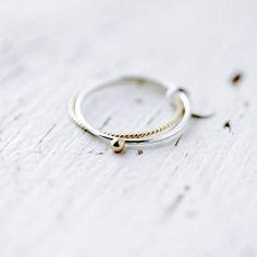Toi et moi 14kt anillo de perla de oro plata