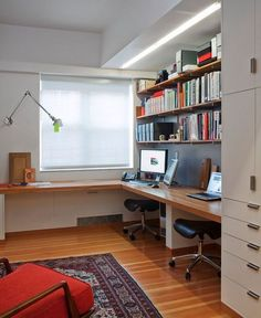 Built in desk, shelves, and closet. Perfect for a guest room that is also an office.