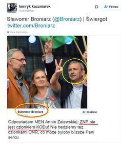 Apolitical leader of teacher's union on KOD demonstration; Internauci odświeżają pamięć Broniarzowi. Prezes ZNP twierdzi, że nie ma nic wspólnego z KOD-em. Naprawdę?