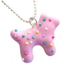 Animal Cookie Necklace, Dog with Rainbow Sprinkles by Kawaii Culture ($25) ❤ liked on Polyvore featuring necklaces