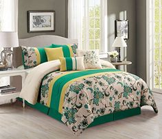 7 Piece King GreenBeigeYellow Floral Comforter Set >>> See this great product.