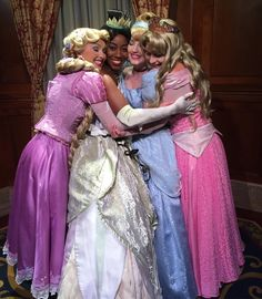 Rapunzel, Tiana, Aurora, and Cinderella