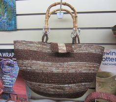Fabric wrapped cord bag. Great ideas can be found in It's a Wrap book by Susan Breier
