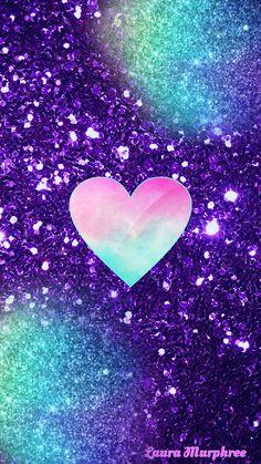Glitter heart phone wallpaper sparkle background bling shimmer sparkles glitter glittery colorful purple blue pink sparkle