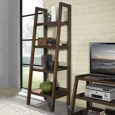 Simpli Home Sawhorse 4-Shelf Bookcase Ladder Shelf in Medium Saddle Brown