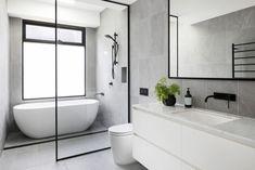 A century-old Elsternwick home received a modern renovation Bathroom Renos, Bathroom Layout, Modern Bathroom Design, Bathroom Interior Design, Bathroom Renovations, Small Bathroom, Home Remodeling, Bathroom Ideas, Shower Ideas