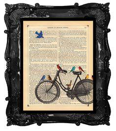 Bicycle Art Print Birds riding on a bike original by BlackBaroque